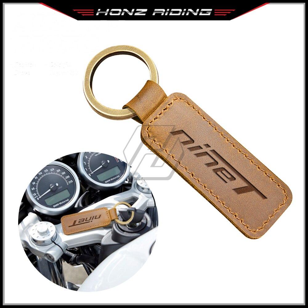 For BMW Motorrad R Nine T Pure Nine-T Motorcycle Cowhide Keychain Key Ring