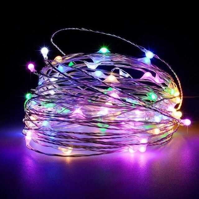Guirlande blanche chaude en fil dargent 1M/2M/3M/5M/10M | Guirlande pour décoration de fête de mariage noël pour la maison, à piles