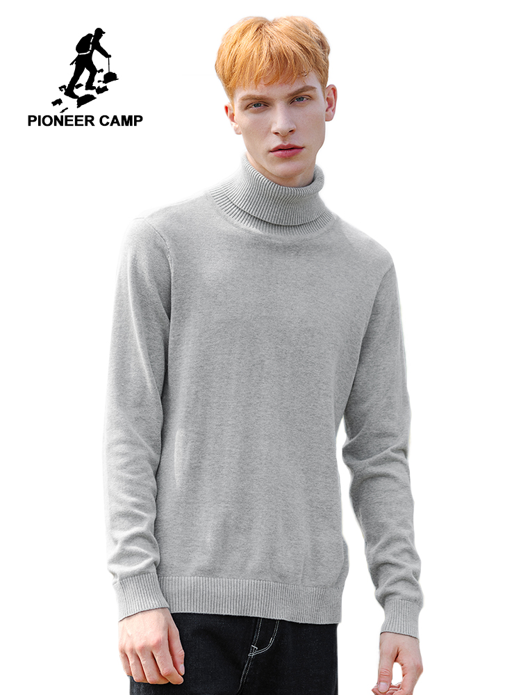 Pioneer Camp Autumn Turtleneck Sweater Men 100% Cotton Solid Black Red Gray Causal Pullover Male AMS902371