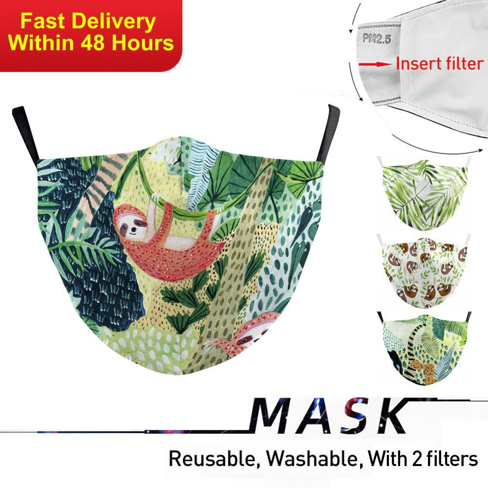 Zawaland Protective Face Mask Reusable Anti Bacteria Filter Mask Cartoon Sloth Print Mouth Mask Washable Mouth-muffle Adult