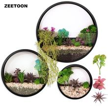 3 Pack Set Modern Round Wall Planters Metal Flower