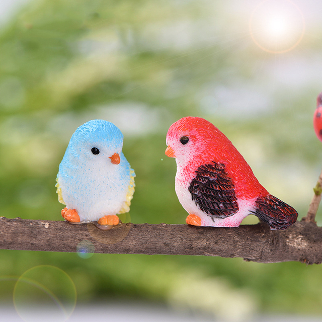 2019 DIY Colored bird mini miniature figurines fairy garden home decor desk decoration accessories christmas miniatures 2