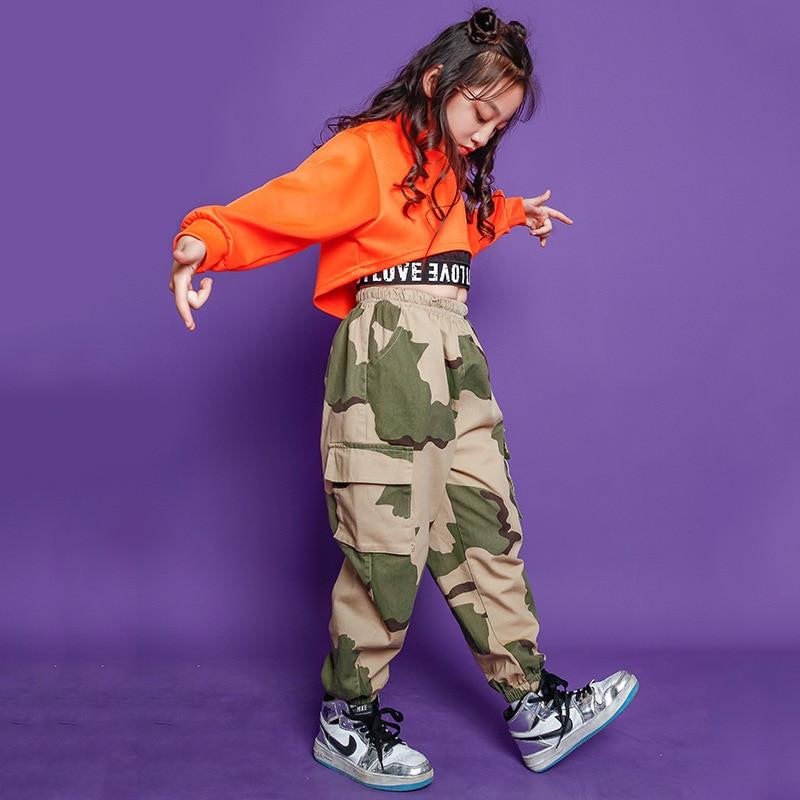 Children Jazz Dancing Dress Girls Childrenswear Navel Korean-style Fashion Children Hip Hop Hip Hop Clothes Girl's Model Catwalk