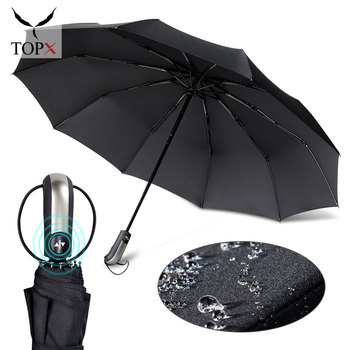 Wind Resistant Three Fold Automatic Umbrella Rain Women Auto Luxury Big Windproof Umbrellas Men Black Coating 10K Parasol Gift wind resistant three fold automatic umbrella rain women auto luxury big windproof umbrellas men black coating 10k parasol gift