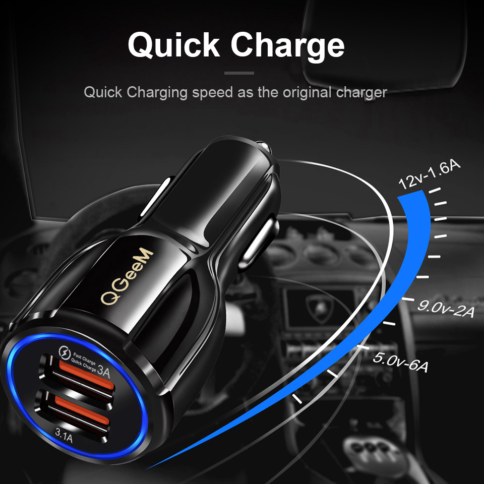 QGEEM Dual USB QC 3.0 Car Charger Quick Charge 3.0 Phone Charging Car Fast Charger 2Ports USB Portable Charger for iPhone Xiaom
