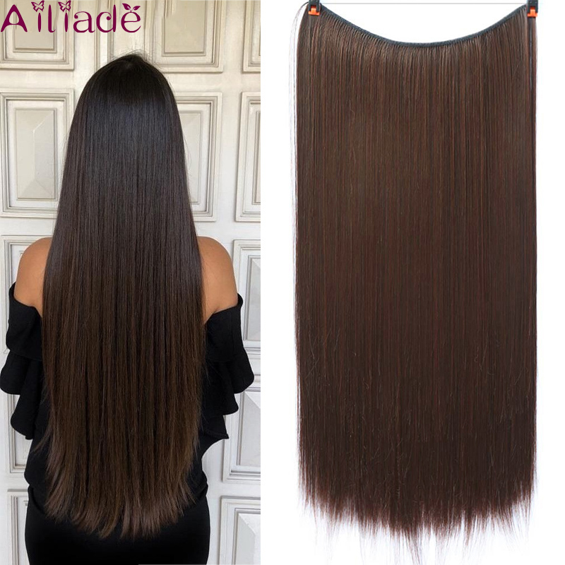 AILIADE 22inches Long Heat Resistant Synthetic Fiber Natural Straight Hair Elasticity Invisible Wire Hair Extensions Hairpieces
