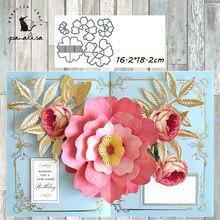 Panalisacraft grande 3d flor pétala metal corte dados e selos cortar scrapbooking álbum cartão de papel ofício gravação