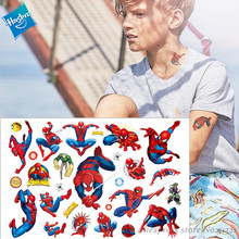Hasbro Marvel  Batman Spiderman Ironman Children Cartoon Temporary Tattoo Sticker For Boys Toys Waterproof Kids Gift