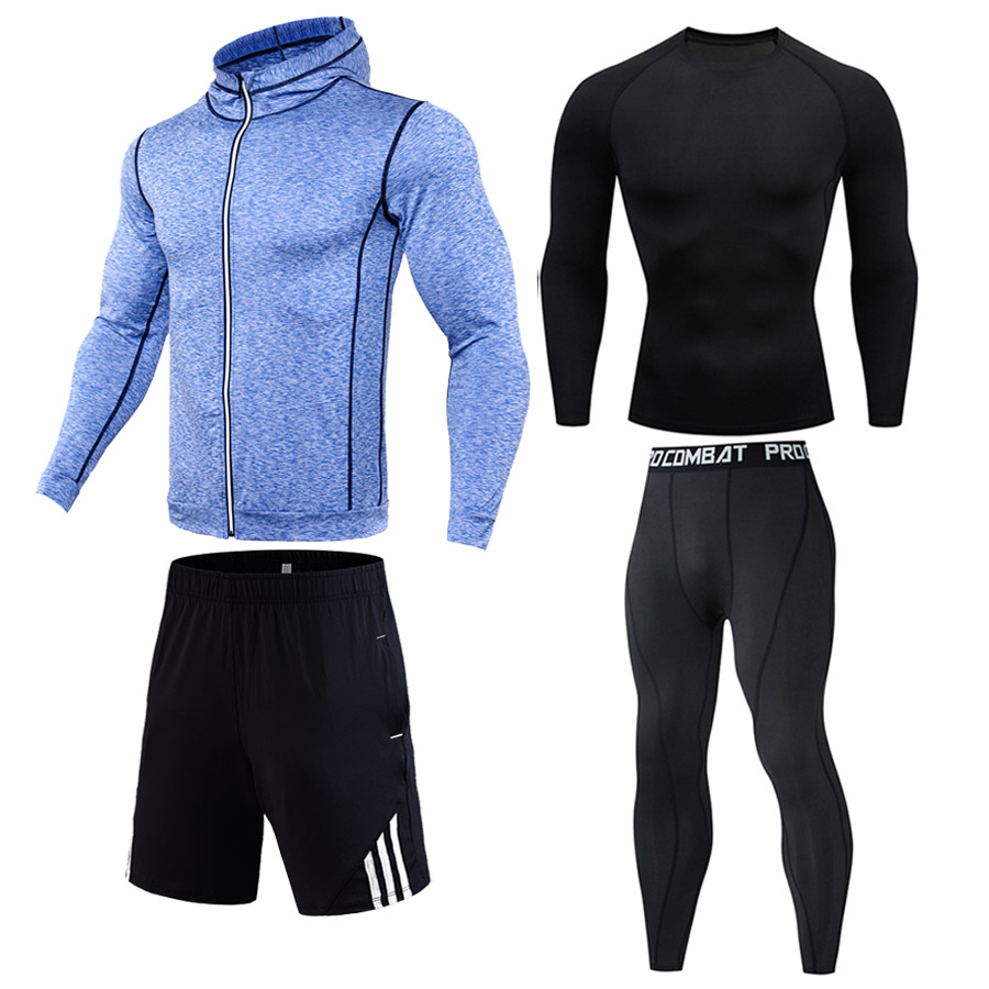 Autumn Winter Gym Clothing Men's Sports Compression Underwear Leggings Fitness Dry Fit T Shirt Hoodie Shorts Track Suit Canterer