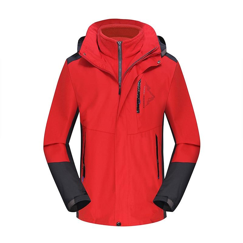 Осень и зима стиль пара открытый лыжный костюм Мужской плащ куртка три в одном Теплый Альпинизм - Цвет: Color