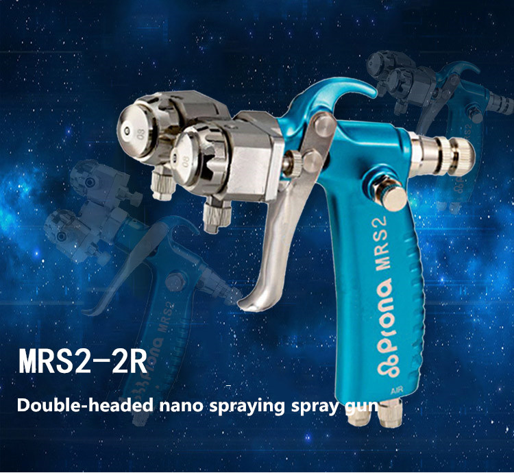H313f69d937d8458b9aa5c88db92ab91dX - Prona MRS2-2R dual head manual nano spray gun, double nozzle spray gun , free shipping, two head gun Chrome plating mirror spray
