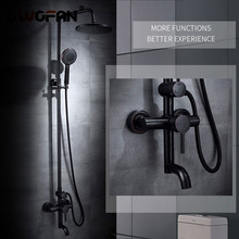 Retro Shower Faucet Black Oil Rubbed Bronze Bathtub Set Water Rainfall Head With Handheld Mixer Tap R45-505