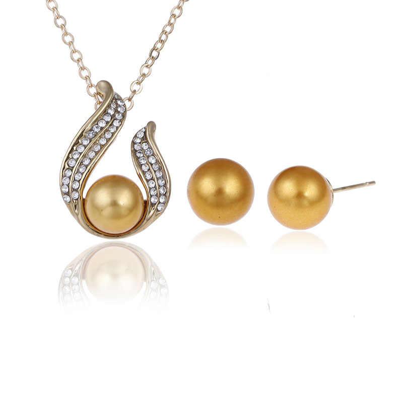 Luxus Braut Partei Schmuck Sets Hinweis Perle Halskette Set Link Kette Tropfen Ohrringe Silber Überzogene Schmuck-Set Für Frauen Hochzeit