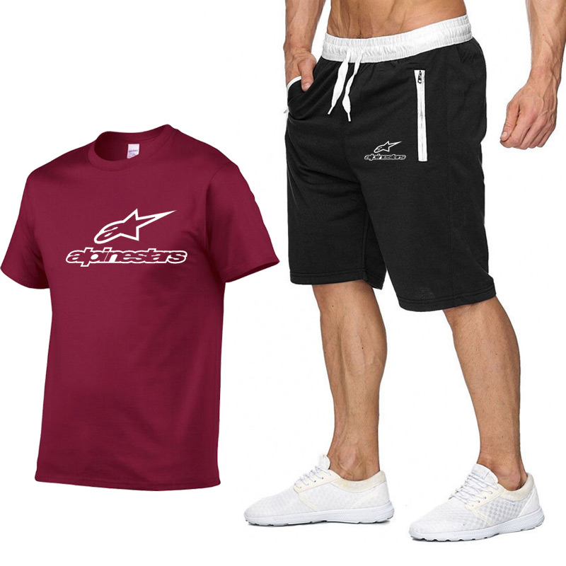 Fashion Summer Print New Men's Short Sleeve T-shirt Set Trend Casual 2-piece Set With Fashion Brand T-shirt+shorts Sportswear