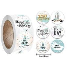 50-500 stücke Runde Glücklich Geburtstag Handmad aufkleber Dicht aufkleber Vintage DIY Geschenk Stickersdhesive weihnachten Aufkleber Schreibwaren