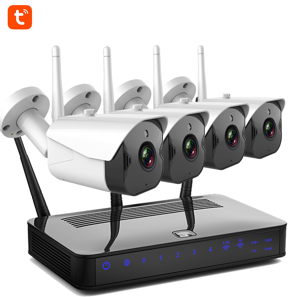Tuya Security Camera System CCTV Wifi 2MP Night Vision Two Way Audio Outdoor Waterproof Monitoring Camera Security System Kit