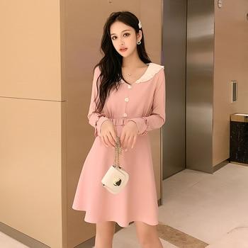 Collar Cute Autumn Winter Slim Long Sleeve Street  Robe Dress 1