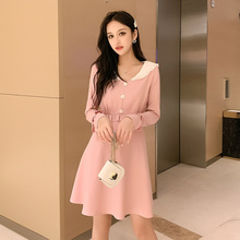 Peter Pan Collar Cute Dress Autumn Winter Slim Long Sleeve Fashion Women Korean High Street Pink Robe Femme