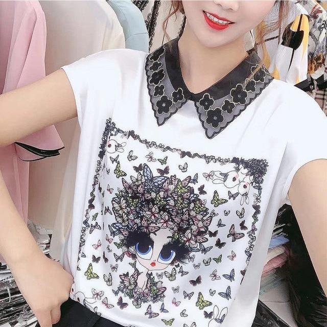 Women Spring Summer Style Chiffon Blouses Shirts Lady Casual Short Sleeve Peter Pan Collar Printed Chiffon Blusas Tops DD8837 1