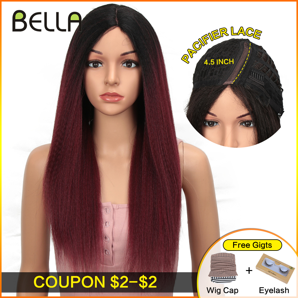 Bella Synthetic Lace Front Wigs For Black Women Yaki Straight Long 27inch Afro Lace Wig Baby Hair Ombre Red 4 Colors Available