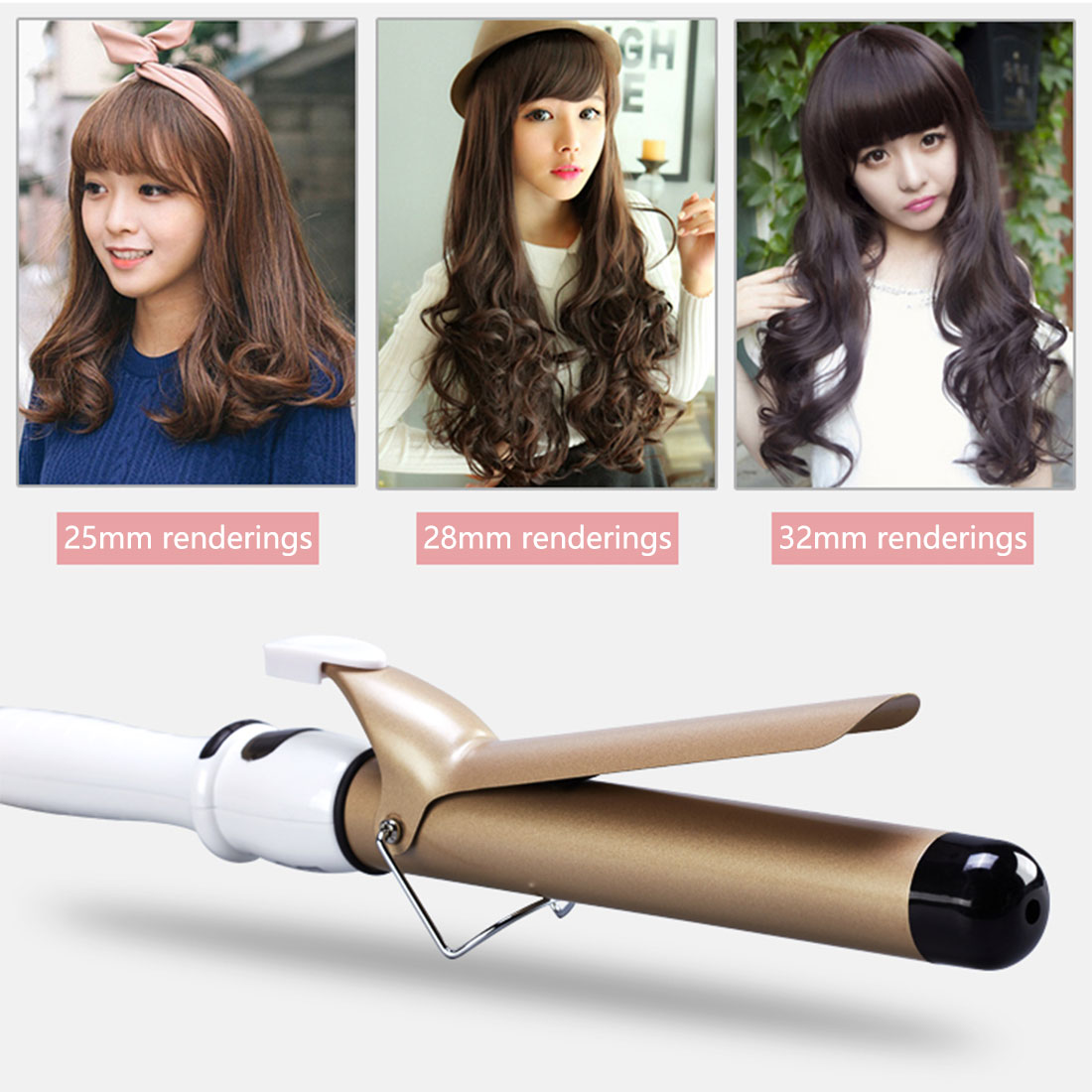ferro 19-38mm wand vacilar moda estilo de cabelo