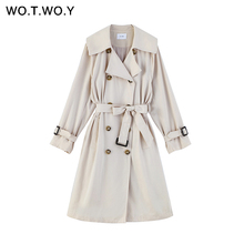 WOTWOY 2019 Autumn Casual Women Trench Coat  Double Breasted Button Adjustable Waist  Long Trench Turn-Down Collar Coat  Women lapel collar adjustable sleeve trench coat