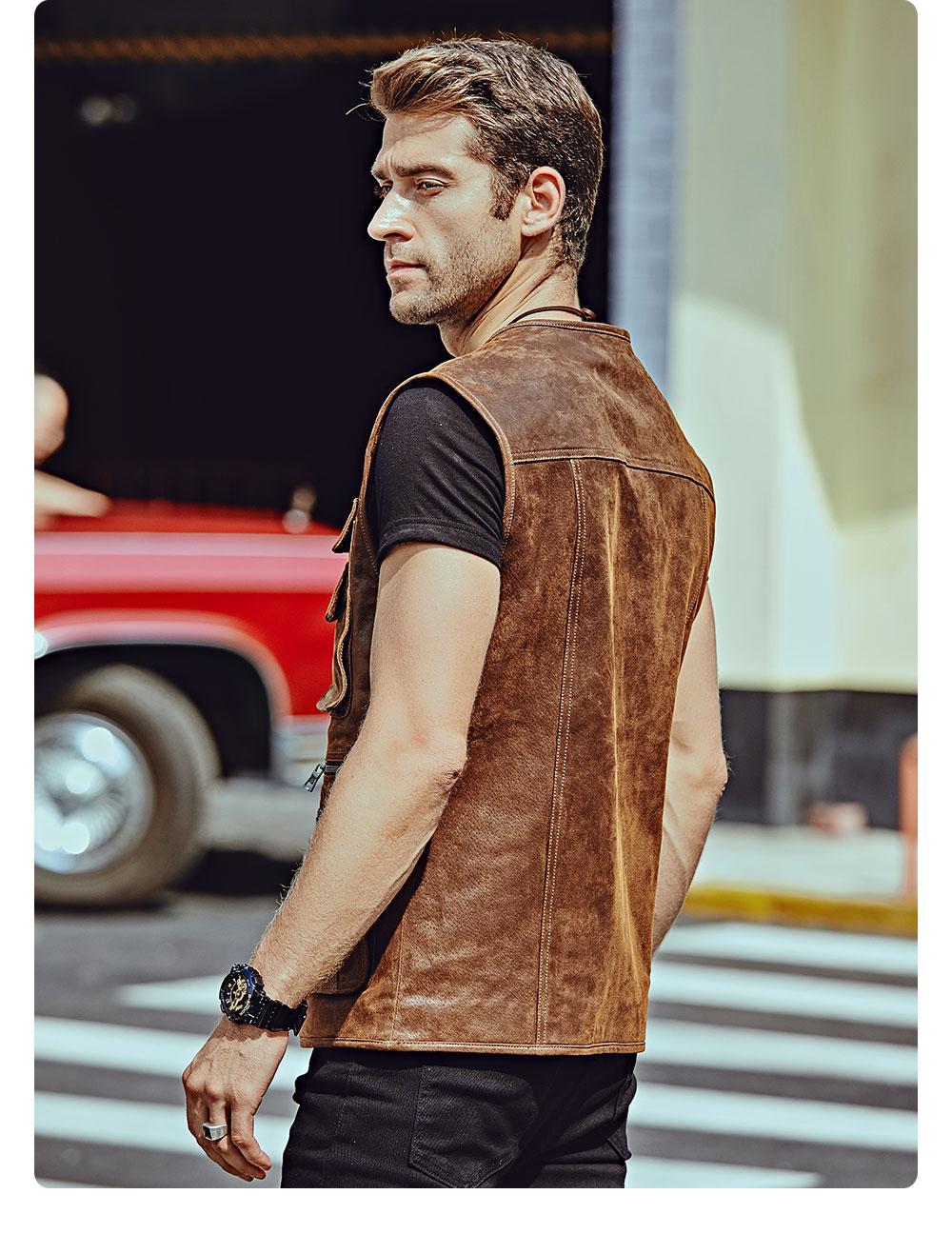 H313ffe94cb4f4c31b4a25e0877b08952u FLAVOR New Men's Real Leather Vest Men's Motorcycle Fishing Outdoor Travel Vests