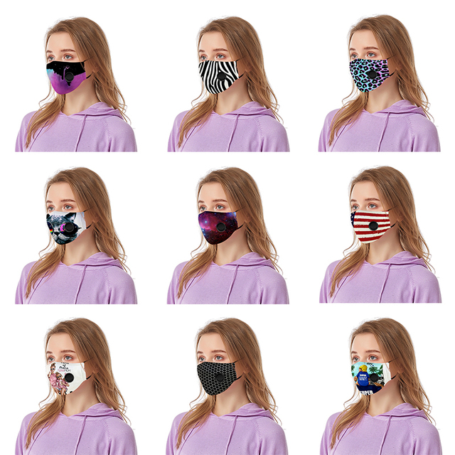 20 Design Washable Face Mask For Woman Man PM2.5 Washable Cotton Mouth Masks Filter Pad Pollution Activated carbon filter 3