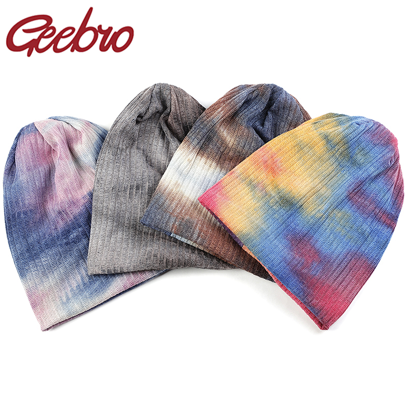 Geebro Soft Women Multicolor Tie Dye Hat Slouchy Caps Autumn Winter Femme Ladies Ribbed Cotton Beanies Baggy Hats Gorros