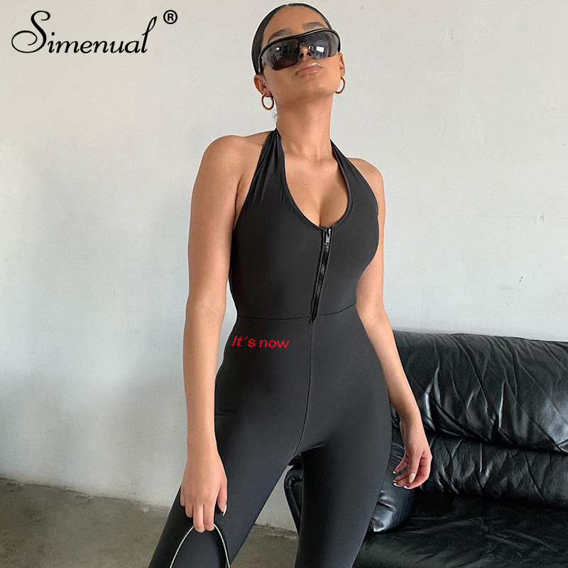 Simenual Halter Backless Skinny Workout Rompers Womens Jumpsuit Sleeveless Casual Fitness Active Wear Letter Print Jumpsuits New