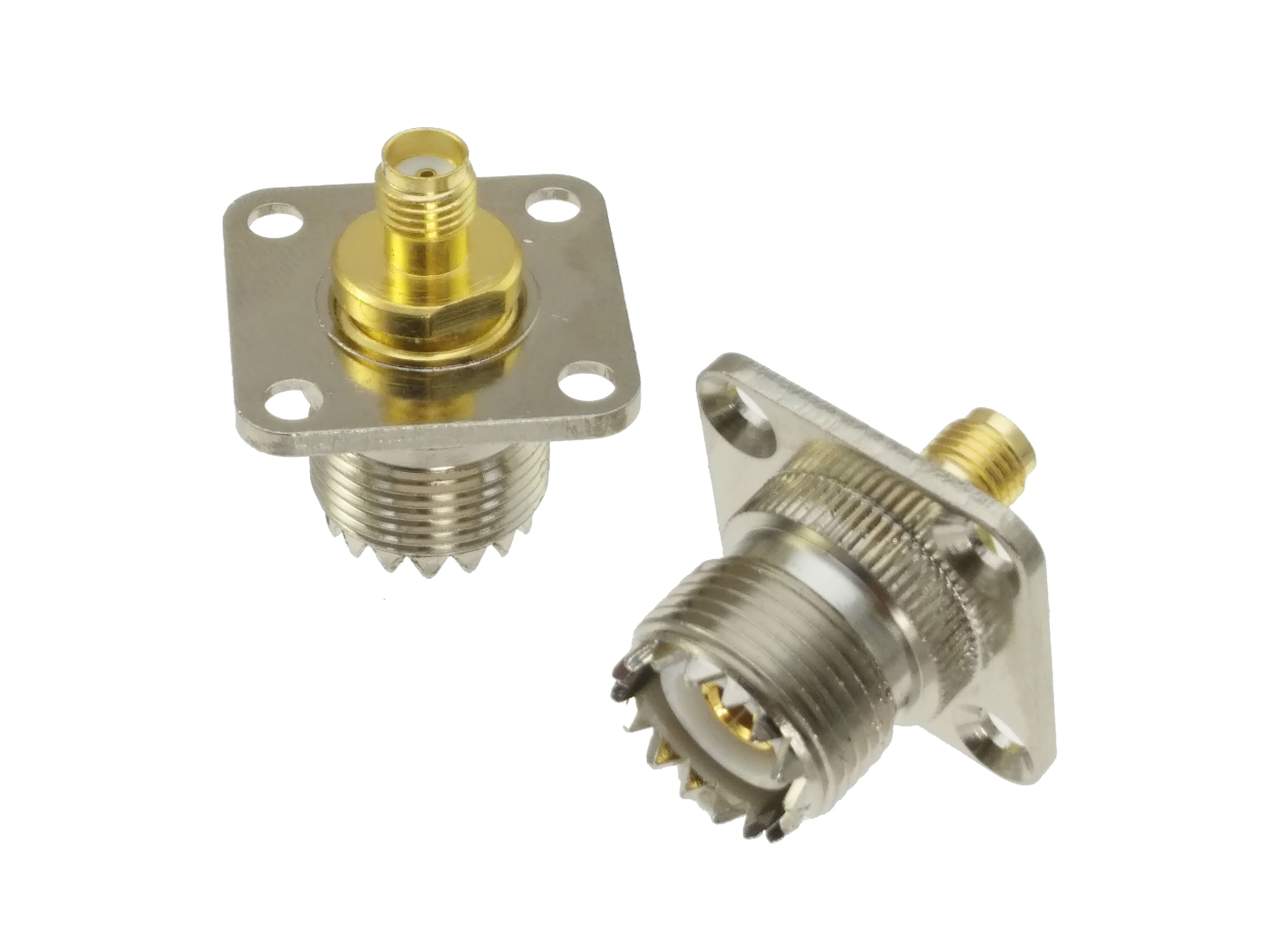 UHF Female SO239 Jack To SMA Female JACK 4-holes Flange Mount RF Adapter Connector