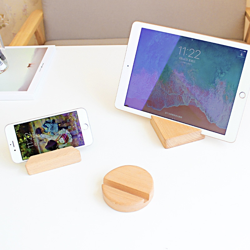 Creative Simple Universal Beech Wood Phone Holder For Smart Phone Bracket Portable Pocket Stand Dock Table PC Cradle