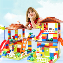 Toys Brick Castle Building-Blocks Duploed Compatible Big-Particle Children Slide