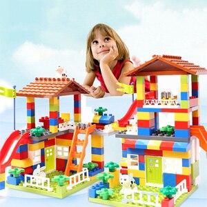 Big Size Slide Building Blocks toys Big Particle Roof Blocks Compatible Duploed City House Castle Brick Toys For Children
