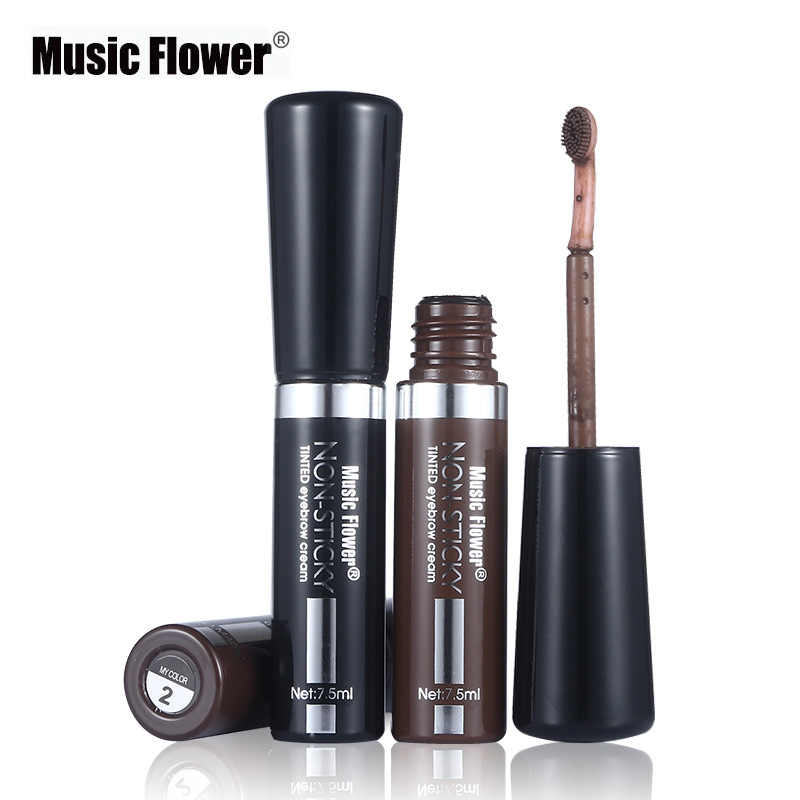 1 pçs preto sobrancelha tintura creme rímel gel de longa duração música flor impermeável marrom olho sobrancelha enhancer caneta cosméticos com escova