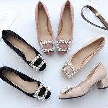 2020 kobiet buty wsuwane buty perły kwadratowe wysokie obcasy sztuczny zamsz stado kamyki na łańcuszku kwadratowe Toe eleganckie wesele kobiety pompy
