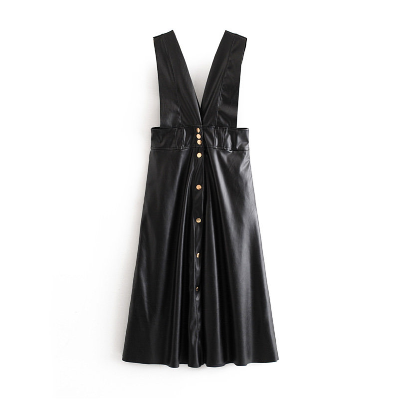 Fashion Autumn Winter Women Midi Mid-Calf Faux Leather Tank Dresses Office Ladies A-Line V-Neck Buttons Pockets PU Dress 8
