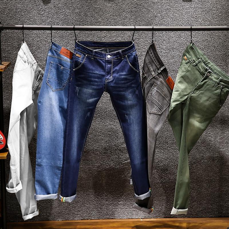 2019 New Men Skinny Colorful  Jeans Fashion Elastic Slim Pants Jean Male Brand Trousers Black Blue Green Gray 6 Colors
