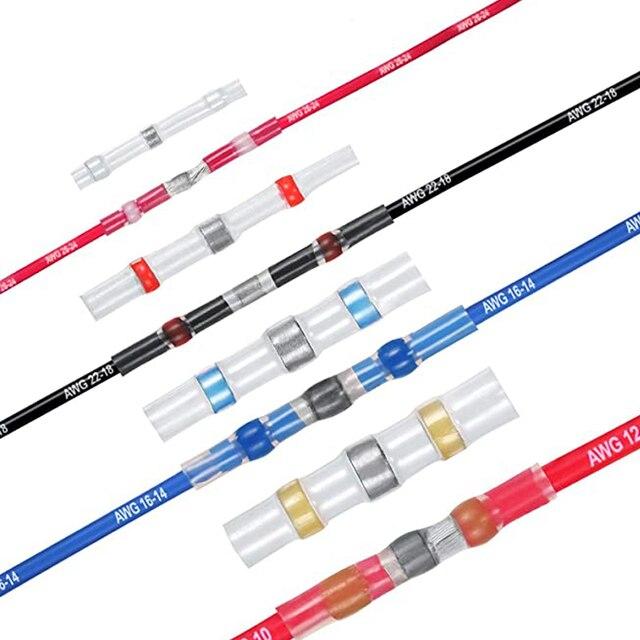 50/100/250PCS terminali di collegamento termorestringenti misti Kit di connettori di testa isolati con cavo elettrico a saldare impermeabile