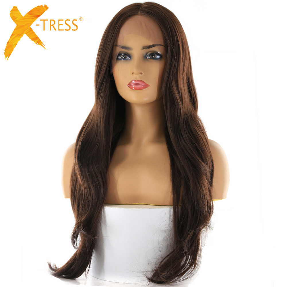 X-TRESS Lace Wigs Blonde Synthetic-Hair Brown Middle-Part Natural-Hairline Wavy Medium