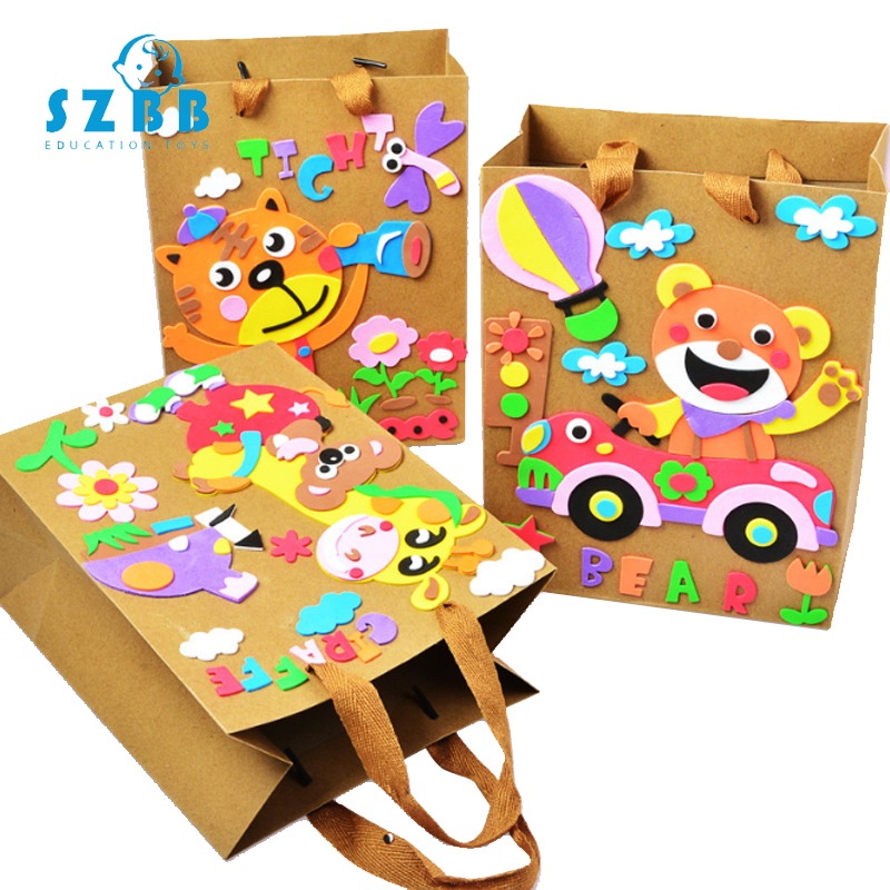 Sz Steam Children DIY Handmade Paper Bag Toy Cartoon Animal Paper Bag For Kindergarten School Craft Toy Educational Toys