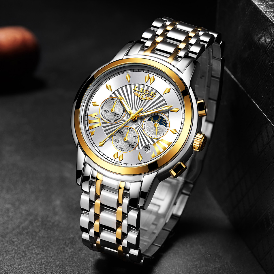2020 LIGE Luxury Watch Man Chronograph Sport Mens Watches Quartz Clock Full Steel Male Wristwatch Relogio Masculino Gift for Men 5
