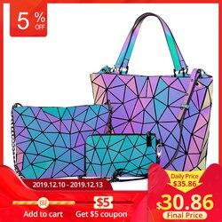 Lovevook bolsas femininas 3 pçs saco conjunto crossbody sacos para as mulheres 2019 geométrica luminosa bolsa de ombro feminino e carteira tote