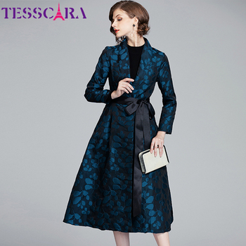 TESSCARA Women Autumn Spring Luxury Jacquard Blazer Trench Coat Female Vintage Designer Elegant Office Ladies Outerwear & Coats