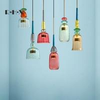 Işıklar ve Aydınlatma'ten Kolye ışıkları'de Modern deco chambre luminaria halat LED kolye ışıkları yatak odası dekor maison