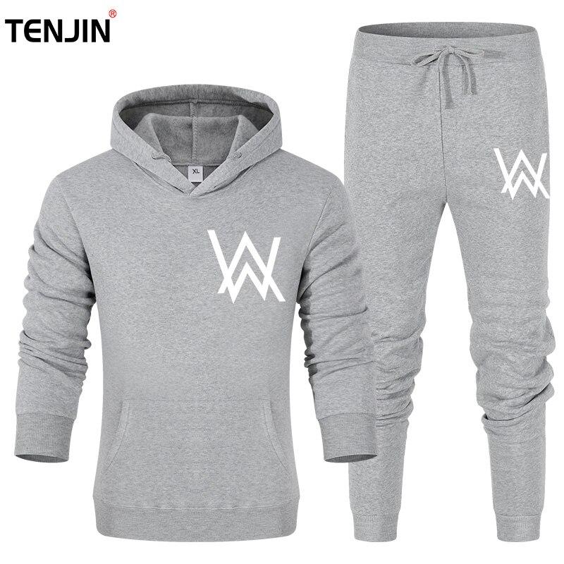 Brand W Men's Set Fashion Sportswear Tracksuits Sets Men Clothes gyms Hoodies+Pants Sets casual Outwear sport Suits Fleece Thick