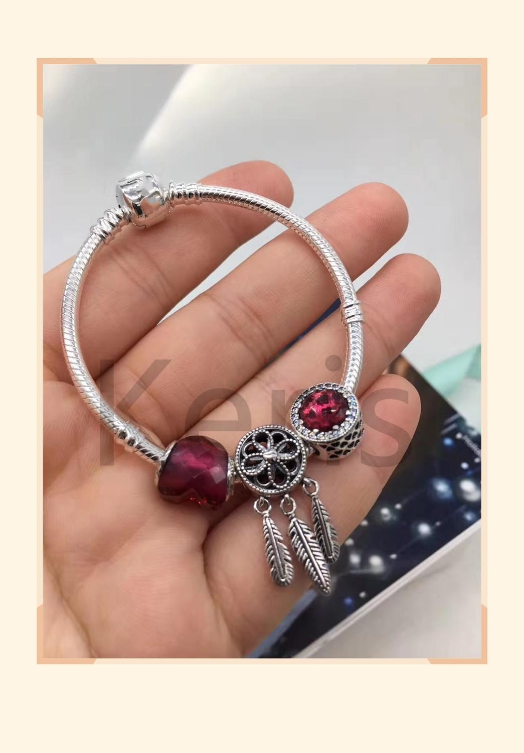 Quality 1:1 100%925 Sterling Silver New Red Cat'S Eye Snake Bone String Bracelet First Choice For Gift Free Package
