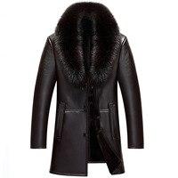 Fox Fur Collar Natural Real Genuine Leather Jacket Men Wool Liner Tops Winter Men's Sheepskin Coat Plus Size 4xl ZT5011