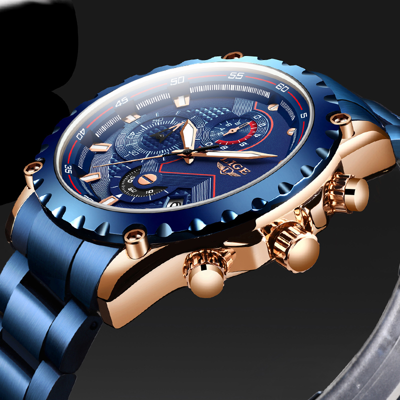 Top Brand LIGE Men Watches Fashion Blue Stainless Steel Waterproof Sport Watch Men Quartz Clock Male Chronograph Reloj Hombre