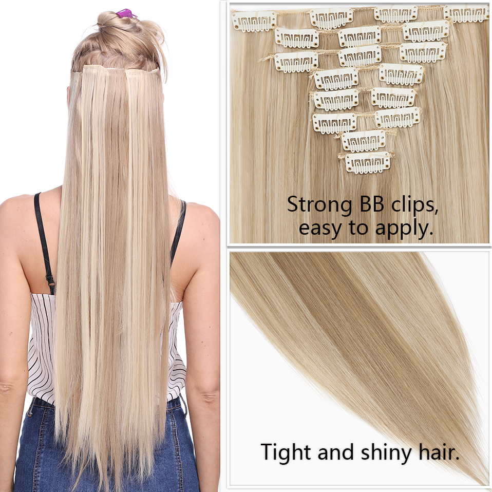 Clip-In Hair-Extensions SNOILITE Natural Straight Synthetic Women 26inch for 8pcs/Set
